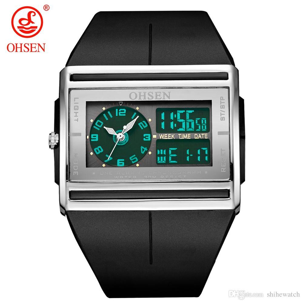 dc1465ed83f OHSEN AD0518 Relogio Masculino Analog Digital Watch Men LCD Back Light Waterproof  Man Sport Watch Quartz Fashion Wristwatch Clock Cheap Watch Cheap Watches  ...