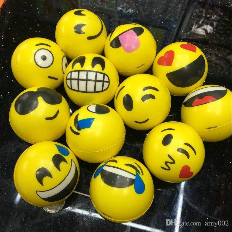 6.3cm QQ Emoji Smiling face ball Stress Squeeze Ball Wrist Finger Training Balls Soft Sponge PU Ball Children Kids Toys 048