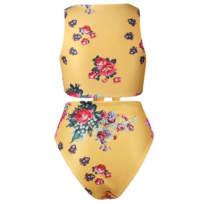 Sexy Estampado floral Playa Bikini Mujeres Pajarita Vendaje Hombro Short Swimsear Trajes de mujer 2018 Bikini de verano 2 piezas Set para mujeres