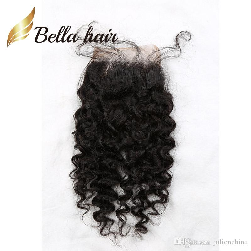 Bella Hair® Pre-plocked Lace Closure 4 * 4 Top 10A Grade Kvalitet Human Hair Curly Extension Natural Färg