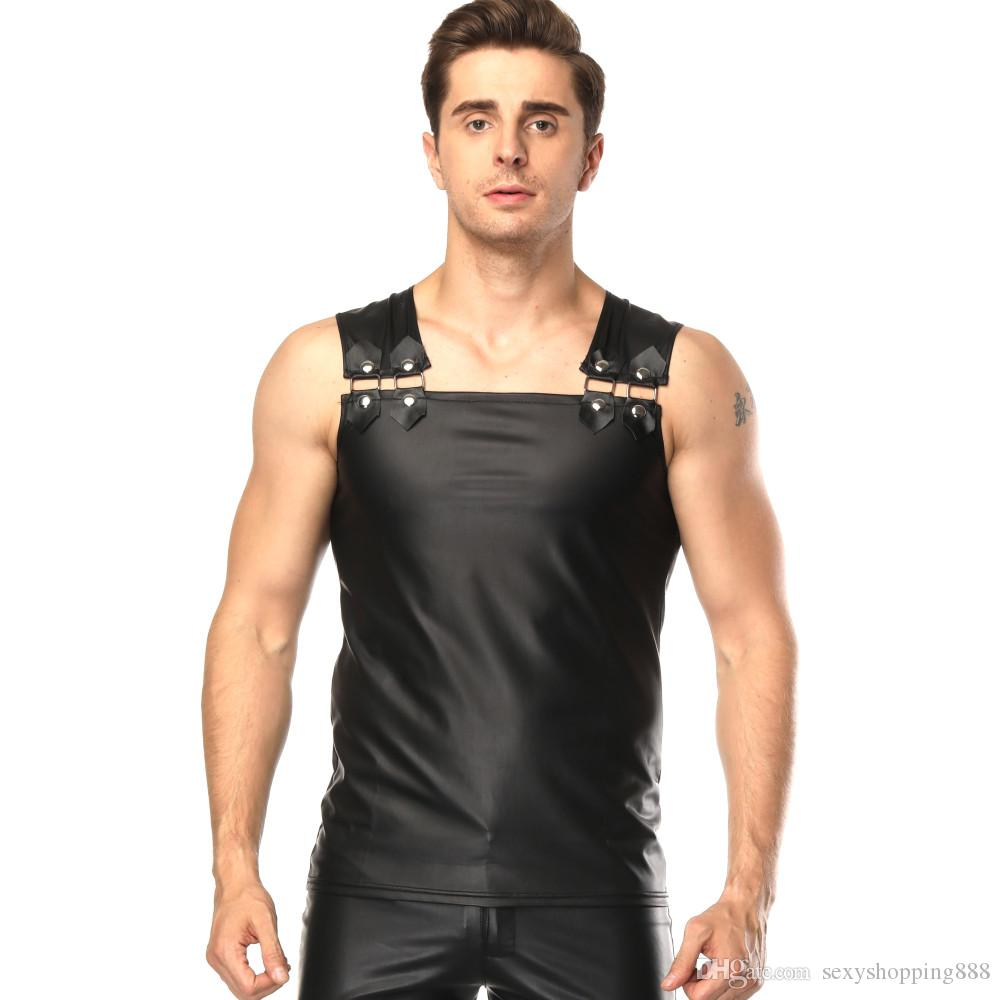 37d58e07f 2018 New Man Sexy Costume Male Exotic Tanks Patent Leather Men Sex Lingerie  Adult Night Club Clothes DS Apparel PVC Underwear White Sexy Underwear  Womans ...