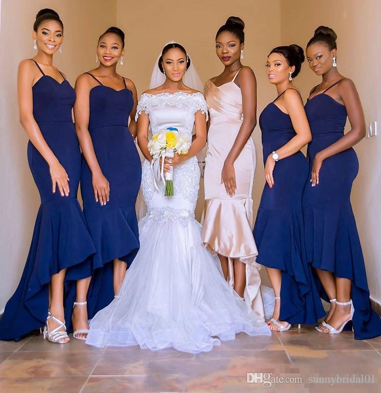 African 2018 Navy Blue High Low Mermaid Bridesmaid Dresses Sleeveless Spaghetti Straps Maid of Honor Evening Party dresses Gowns Custom Made