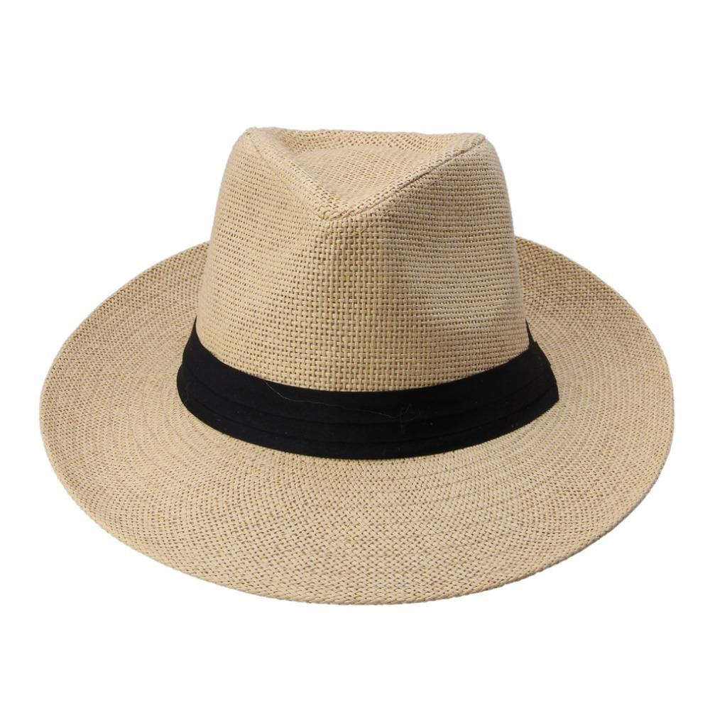 c29bfb61324 Fashion Summer Casual Unisex Beach Trilby Large Brim Jazz Sun Hat Panama  Hat Paper Straw Women Men Cap With Black Ribbon Tilley Hats Mens Hats From  ...