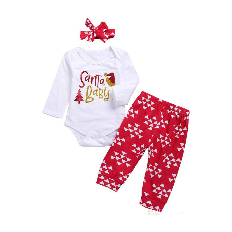 bcbf6dba7 2019 Baby Christmas Outfits Babies Santa Long Sleeve Romper Body Suits+Pants +Headband Outfit Xmas Clothes LE41 From Zhengwy1983, $6.39 | DHgate.Com