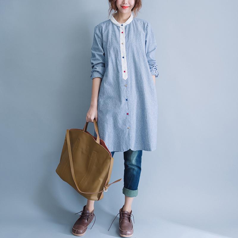 9575ac48a529d Compre Camisas Largas De Manga Larga Para Mujeres Camisas Largas De Algodón  Azules Para Rayas Verticales Camisas Informales A  18.1 Del Yoyo163424