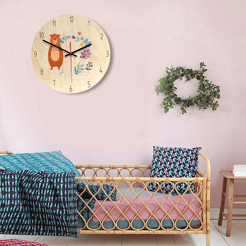 New wooden color living room Nordic wall clock children s bedroom  decoration decoration creative mute clock freeshipping