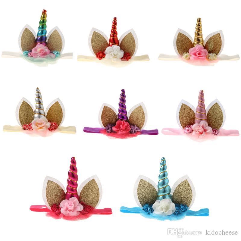 Unicorn Horn Headband Sequin Bunny Ear Headband with Flower Crown for Kids  Easter Headband Unicorn Birthday Party Decoration Bunny Ear Headband Unicorn  ... e73f5b038f8