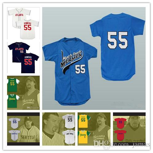 879ac961885 2019 Kenny Powers  55 Mexican Charros Atlanta New York Boston Myrtle Beach  Mermen All Stitched Baseball Jerseys From Jamas