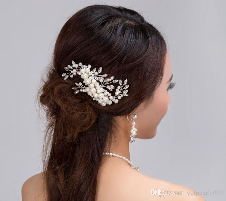 Exquisite pearl crystal pearl necklace set Tiara Comb wedding bride jewelry
