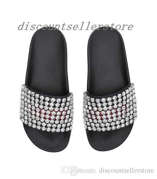 6482dbbb4f2 2018 Mens And Womens Fashion Crystal Embellished Leather And Rubber Slides  Sandals Outdoor Beach Rubber Flop Flops Size Euro35 45 Boys Sandals Dansko  ...