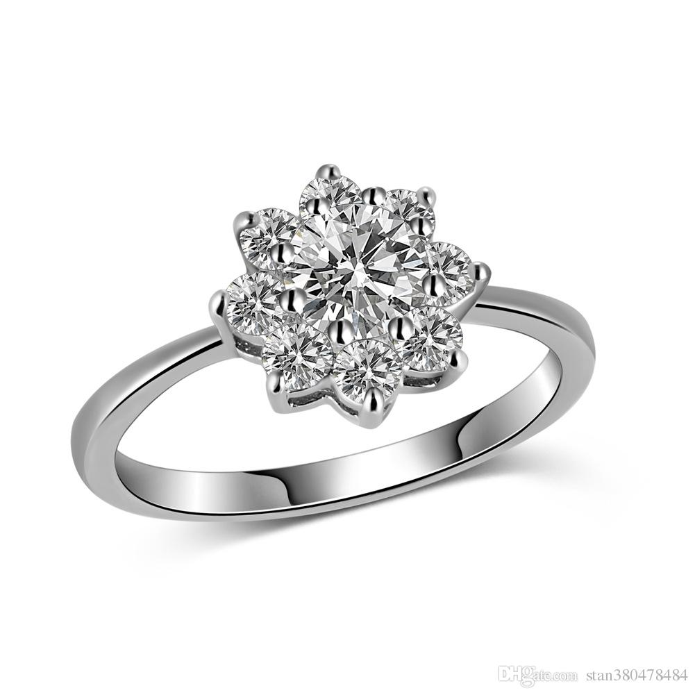 fleur de soleil zircon anneau platine anneau anneau dames cadeaux exquis  décoration quotidienne bijoux femmes bijoux fins vente