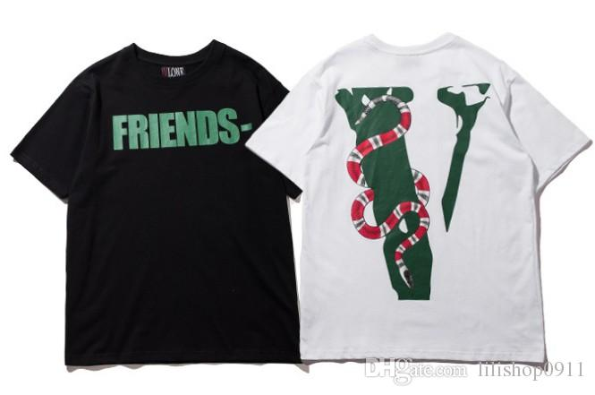 a026f38417 Vlone Life FRIENDS Co Branded Snake Embossed Printing Large V Short Sleeved T  Shirt Men Women Tide Brand Loose Couples T Shirts Tee Tee Tees Interesting T  ...