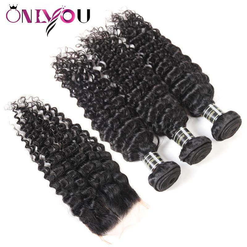 Peruvian Deep Wave Lace Closure 9A Peruvian Virgin Hair Deep Wave Bundles with Closure Drop Shipping Hair Wefts with Weaves Closure