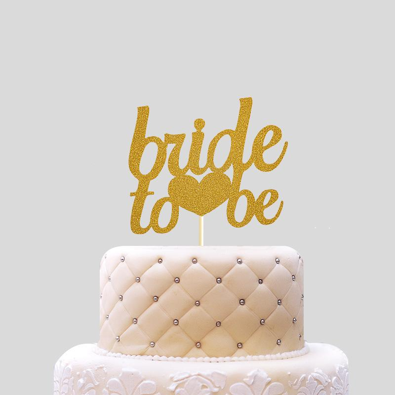 2019 Bride To Be Cake Topper Cupcakes Flag Bridal Shower Supplies Gold Glitter Paper Bachelorette Hawaiian Wedding Party Decor From Topprettymall