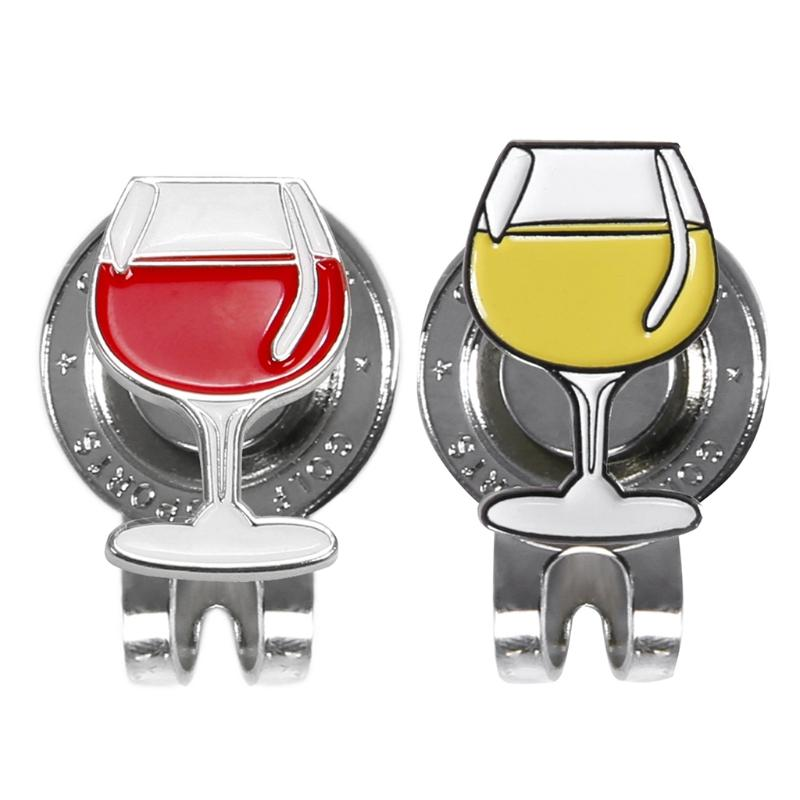 2019 Wine Glass Metal Golf Ball Marker With Magnetic Hat Cap Clip  Accessories New From Curtainy c4532e988d34