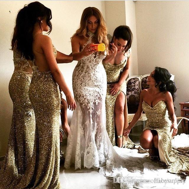 Étincelante Bling Or Paillettes Sirène Robes De Demoiselle D'honneur Dos Nu Fente, Plus La Taille Demoiselle D'honneur Robes De Mariage Robe