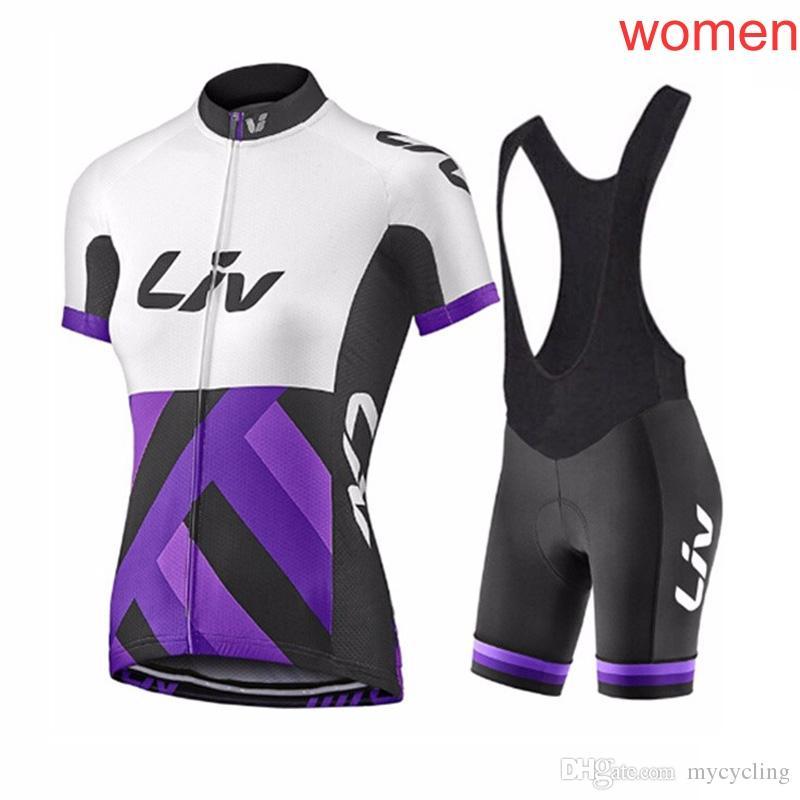 LIV Mujeres Ciclismo Jerseys ropa ciclismo Verano MTB Bike Shirts babero conjunto Racing Ropa Riding Ropa Bicicleta Top Y Short Kit F2622