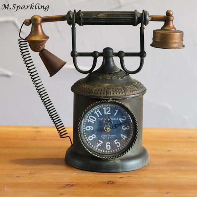 Uhr Elektronische Dekoration Tischuhr Tabelle Desktop Kreative Wohnzimmer Modell Retro Style Einzigartige Vintage Telefon eErxBQWdCo