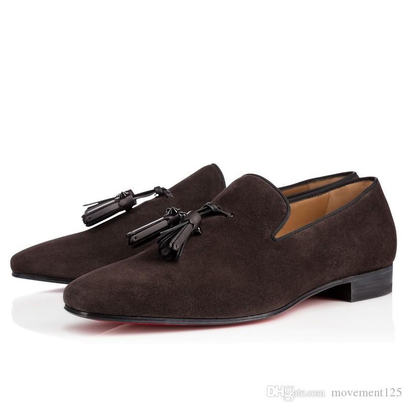 جديد حزب اللباس الزفاف الانزلاق على متعطل أحذية للرجل الهندباء الشرابة حذاء أحمر أسفل أكسفورد أحذية رجالية فاخرة الترفيه شقة