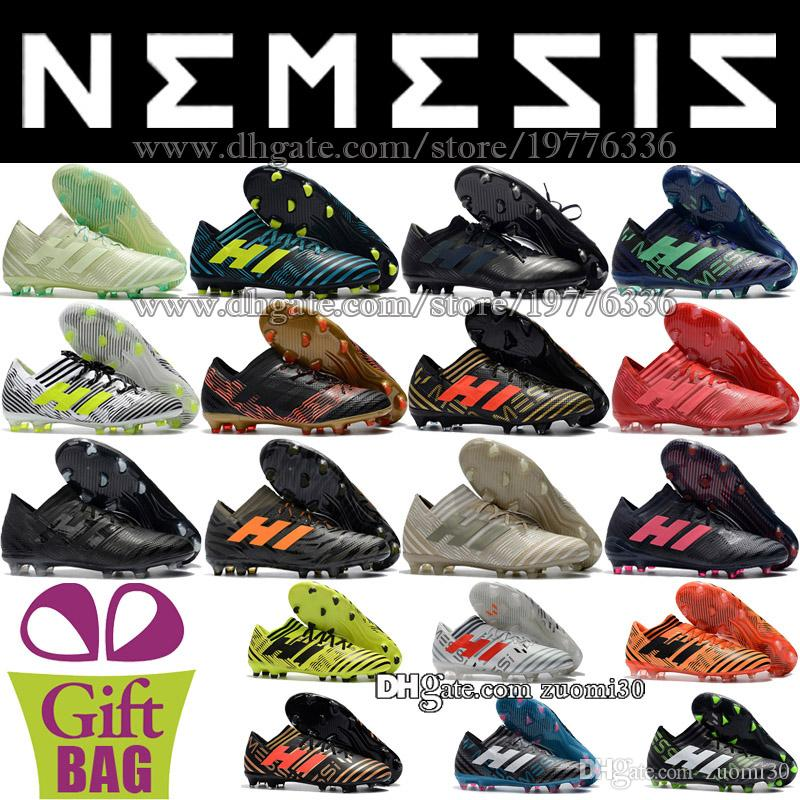 badcc7b722b 2019 Original Mens Nemeziz 17.1 FG Messi New Football Shoes Socks Soccer  Cleats Outdoor Leather Soccer Boots Trainers Low Soccer Shoes 6.5 11.5 From  Zuomi30 ...