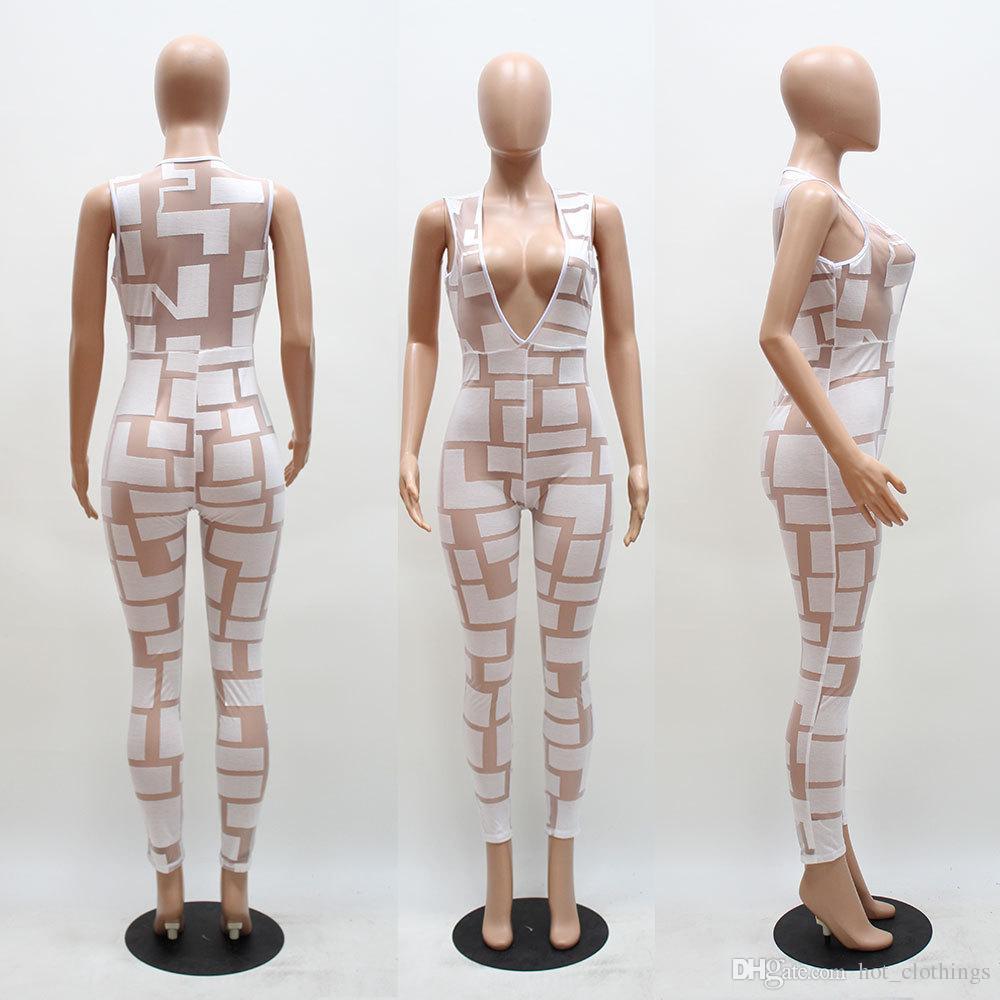 Sexy v-ausschnitt frauen overall ärmellose body mesh overall durchsichtig strampler damen dünne overalls lange hosen kleidung