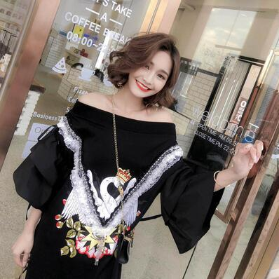 a23618359c European And American Style New Cartoon Print Sequins One Word ...