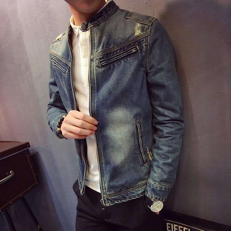 8ca54384c Compre Outono Jaqueta Jeans Masculina 2018 Nova Versão Coreana Da Tendência  De Slim Bonito Uniforme De Beisebol Dos Homens Jaqueta Casual De Macloth