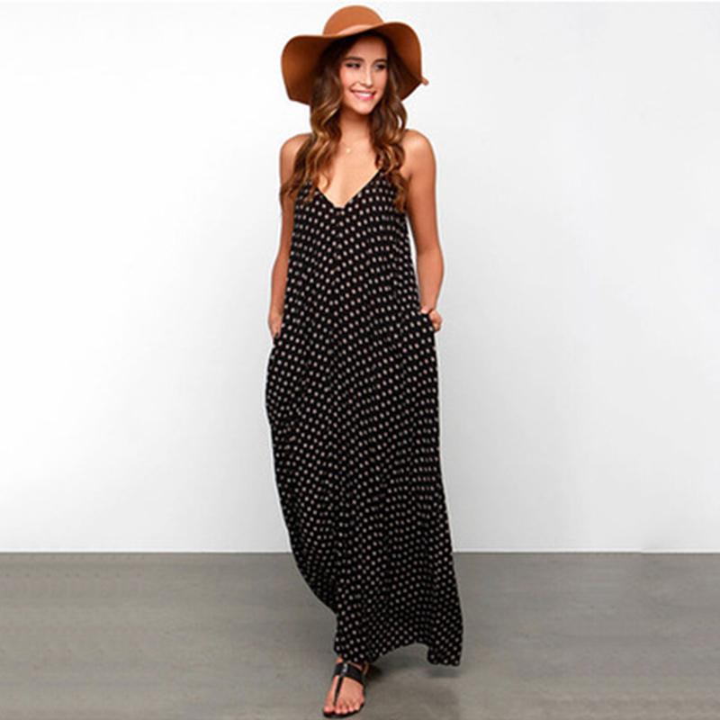 acd979facdc 2018 Summer Dress Women Polka Dot Deep V Neck Sleeveless Casual Party Beach  Maxi Long Dress Vestido Sundress Plus Size Black And White Dresses Juniors  Cute ...