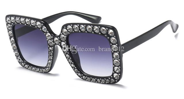 c93fa4b9bfe9 2018 Rhinestone Sun Glasses for Women Luxury Brand Black Pink ...