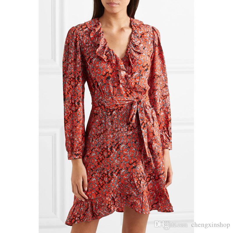 3561439499d3 2018 French Ruffled Leopard Print Crepe Wrap Mini Dress Print Long Sleeves  V Neck Lady One Piece Dresses Women Dress MBL8903 Ma* Casual Dresses Cute  Dresses ...