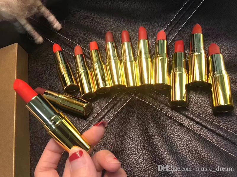 Hot Brand cosmetics Matte lasting lipsticks set gold box High quality Gift Box DHL shipping