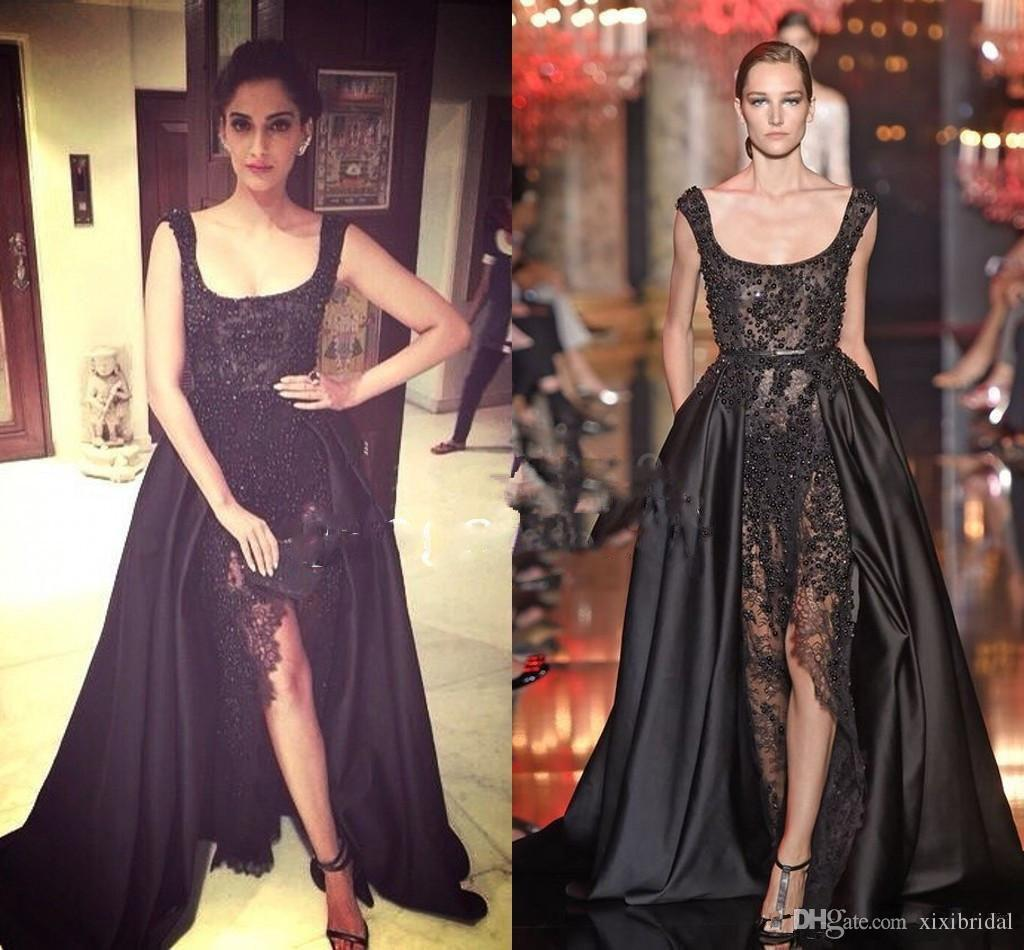 Hot Sale Elie Saab Real Buyer Show Prom Dresses Long Black Lace ...