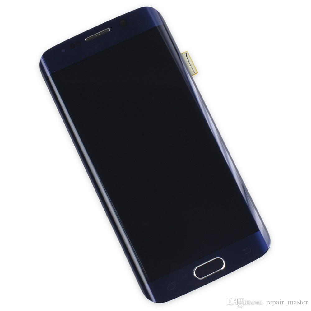 For Samsung Galaxy S6 Egde LCD Display G925F G925T G925A G925V G925P G925T G925V G925P Touch Screen Golden Black White Color With Frame