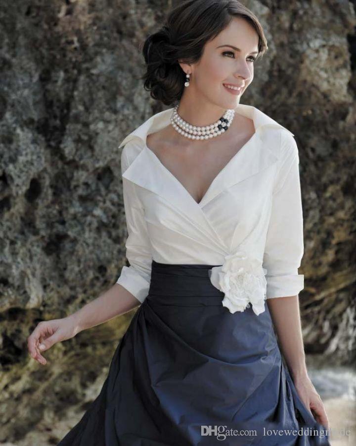 2019 Vintage White Shirt Black Skirt Mother Of The Bride Dresses Long Sleeves Custom Elegant Formal Party Dress Evening Gown