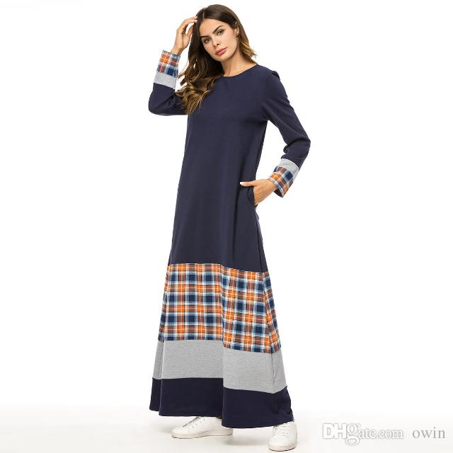 503ac85edd09a Tartan Clothing Women Long Sleeve O Neck Plaid Patchwork Autumn Winter New  Elegant Ladiescontrast Color Urban Casual Maxi Dress Plus Size 4X Girls  Dress ...