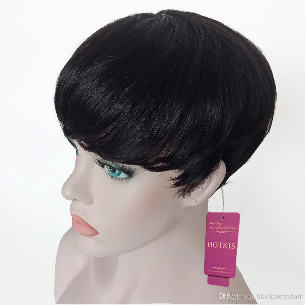 Parrucche corte 100% capelli umani HOTKIS Parrucche nere tagliate corte parrucche a pelo corto donne nere