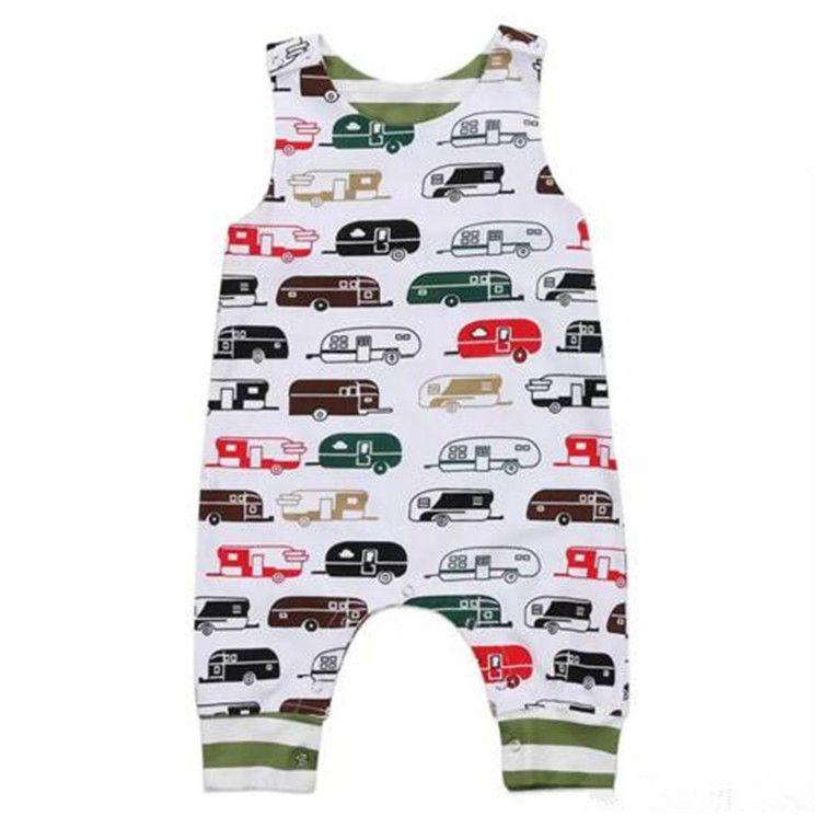 3342db8f05 2019 Summer Baby Boy Girl Toddler Cartoon Bus Jumpsuit Sleeveless Cotton  Romper Newborn Baby Outfit Bodysuit Kid Clothing Set B11 From Start baby
