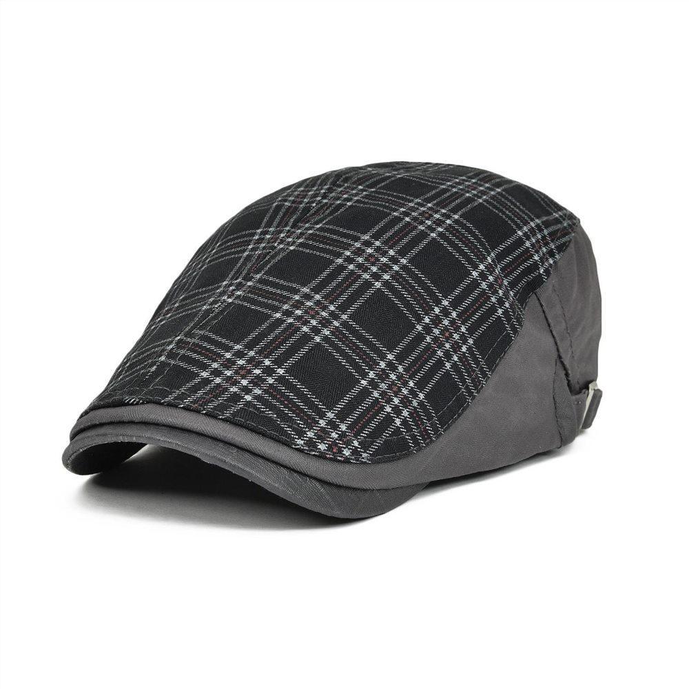 5078e1d1beb77 2019 VOBOOM Large Plaid Gray Ivy Casual Berets Hats Unisex Summer Berets  Caps For Men Women Adjustable Brand Caps 026 From Hongshaor