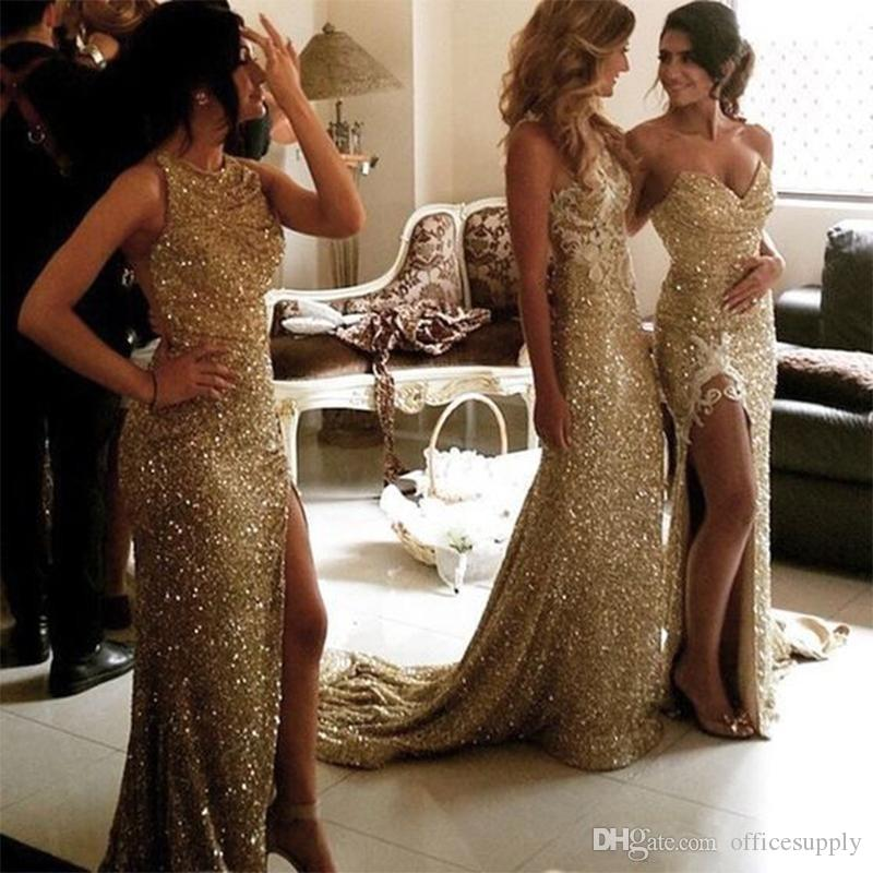 Abiti da damigella d'onore a sirena con paillettes scintillanti dorati con spacco alla schiena plus size damigella d'onore abiti da sposa