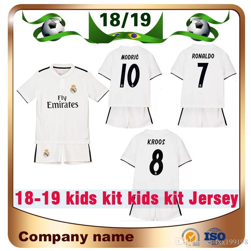 fb447e6eeb6 18 19 Kids Kit Real Madrid  7 RONALDO Soccer Jerseys 2019 Home Whire ...