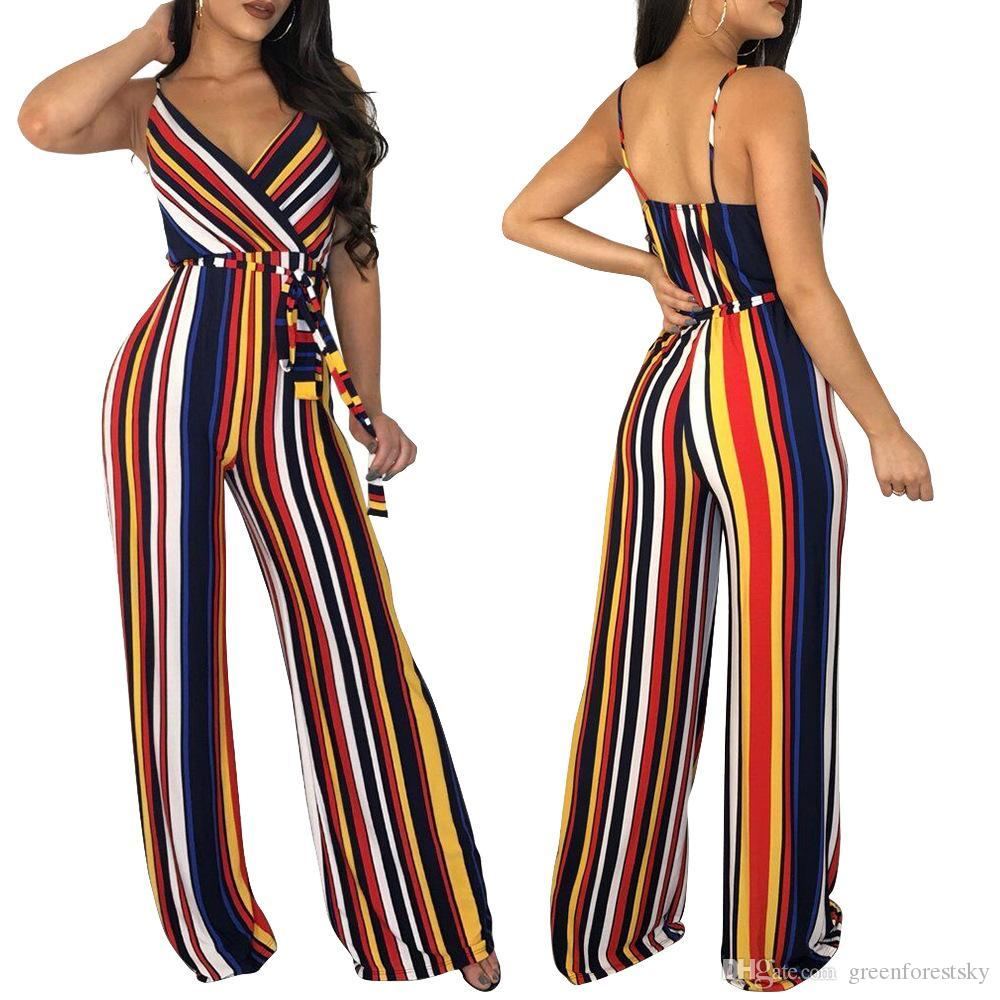 a347b544272 2019 Long Wide Leg Casual Jumpsuit For Women Spaghetti Strap V Neck Sexy  Straight Romper Summer Colored Striped Sashes Overall From Greenforestsky