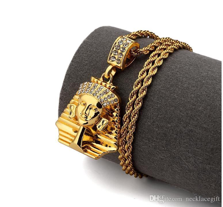 18k diamante Vintage Retro Hombres Collares Faraón Egipcio Colgantes Collar de Cadena Mascarada Fiesta Joyería de Acero Inoxidable Cumpleaños
