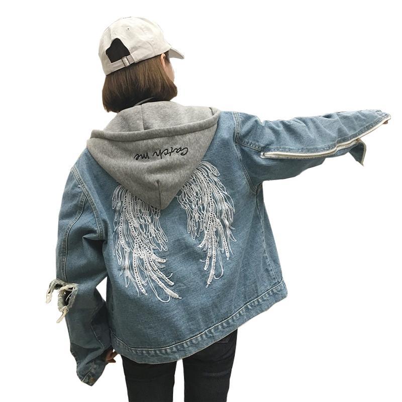 Satın Al çıkarılabilir Kaput Denim Ceket Işlemeli Gevşek Kot Ceket