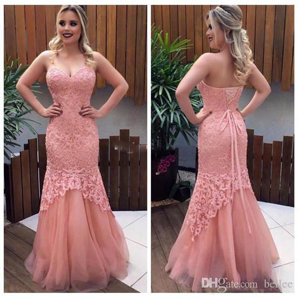 Compre 2018 Rosa Vestidos De Baile Sirena Sin Tirantes Hasta El ...