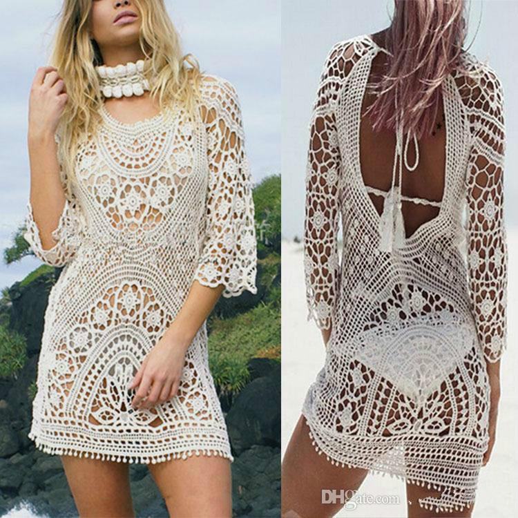 9b82e23c3a 2019 Fashion Women Bathing Suit Lace Crochet Bikini Cover Up Swimwear  Summer Beach Dress White Boho Sexy Hollow Knit Swimsuit From Haomaoo,  $28.78 | DHgate.