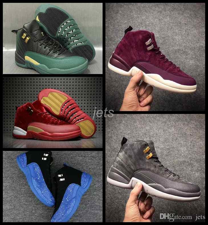 de20c56f5 Compre 2018 12 Hombres Zapatos De Baloncesto Ovo Blanco Gamuza Burdeos Gris  Lana 12s Zapatillas Para Hombre Zapatillas Basket Ball Sports Shoes 8 13  Jets A ...