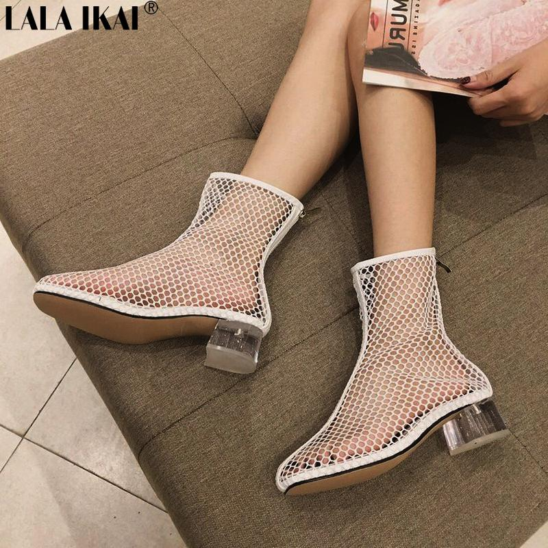 9f86e944dfc LALA IKAI Air Mesh Women Ankle Boots Fashion Transparent Heel Hollow Out  Female Summer Boots Mid Heels Sandals XWC2289 5 Walking Boots Ankle Boot  From ...