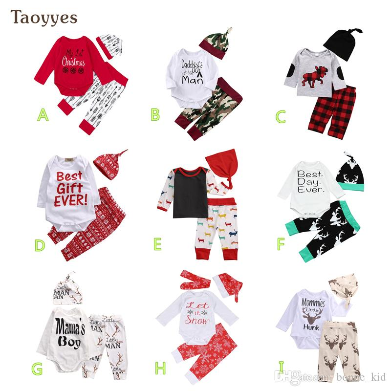 f61ff6863 INS Baby Christmas Clothes Reindeer Rompers Pants Hats Clothing Set ...