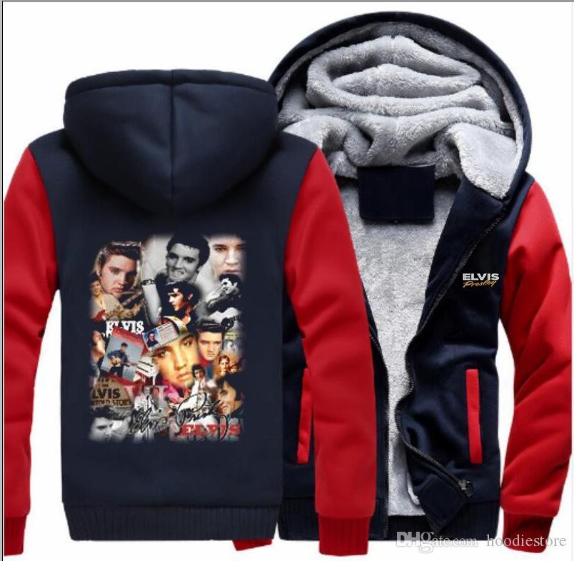 a4eb6d70404 2019 Elvis Presley Hoodies Men S Winter Casual Super Warm Thicken Fleece  Sweatshirt Zipper Jacket Coat USA EU Size Plus Size From Hoodiestore
