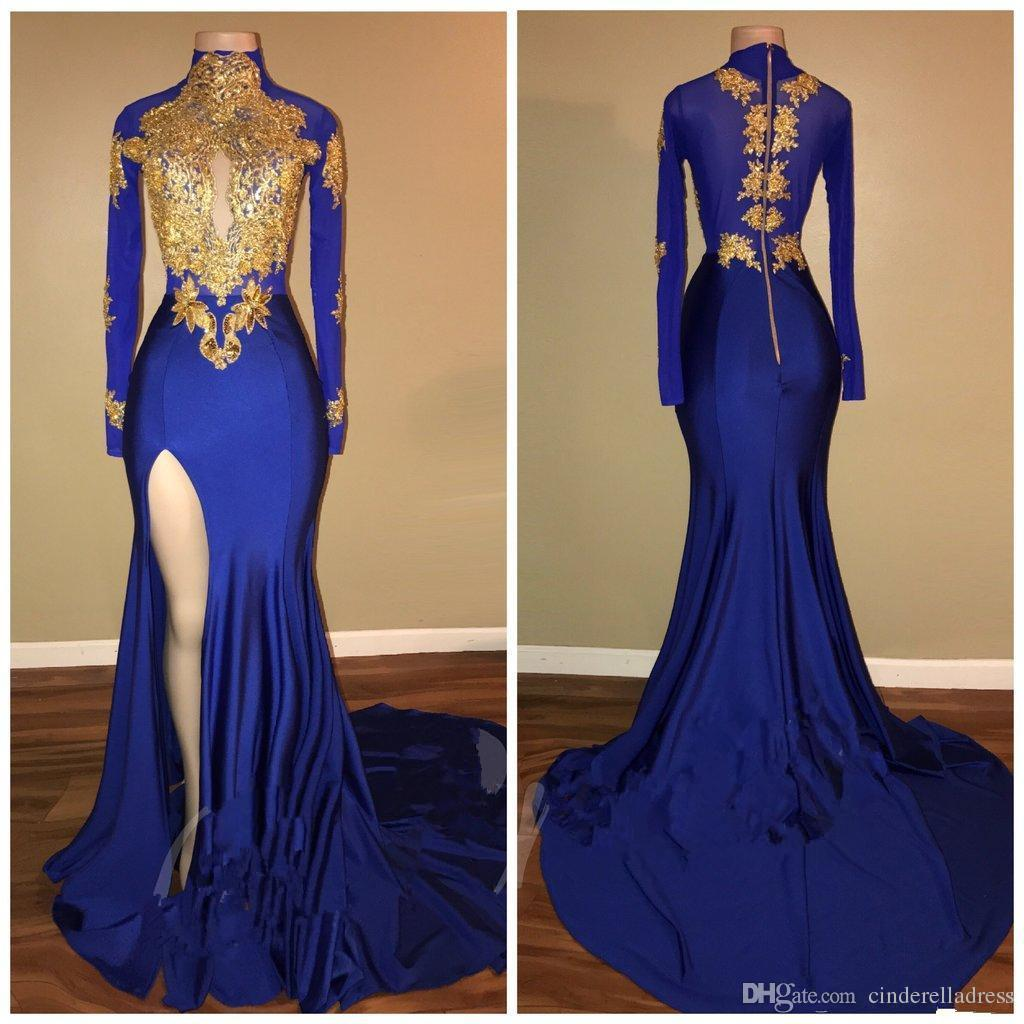 New Arabic High Neck Prom Dresses Gold Appliques Mermaid Vintage Long Sleeves 2018 Sexy High Split Black Girls Evening Gowns BA7711